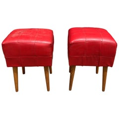 Pair of Midcentury Leather Ottomans