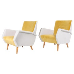 Pair of Midcentury Lounge Chairs in French Velvet by Gio Ponti, 1950s