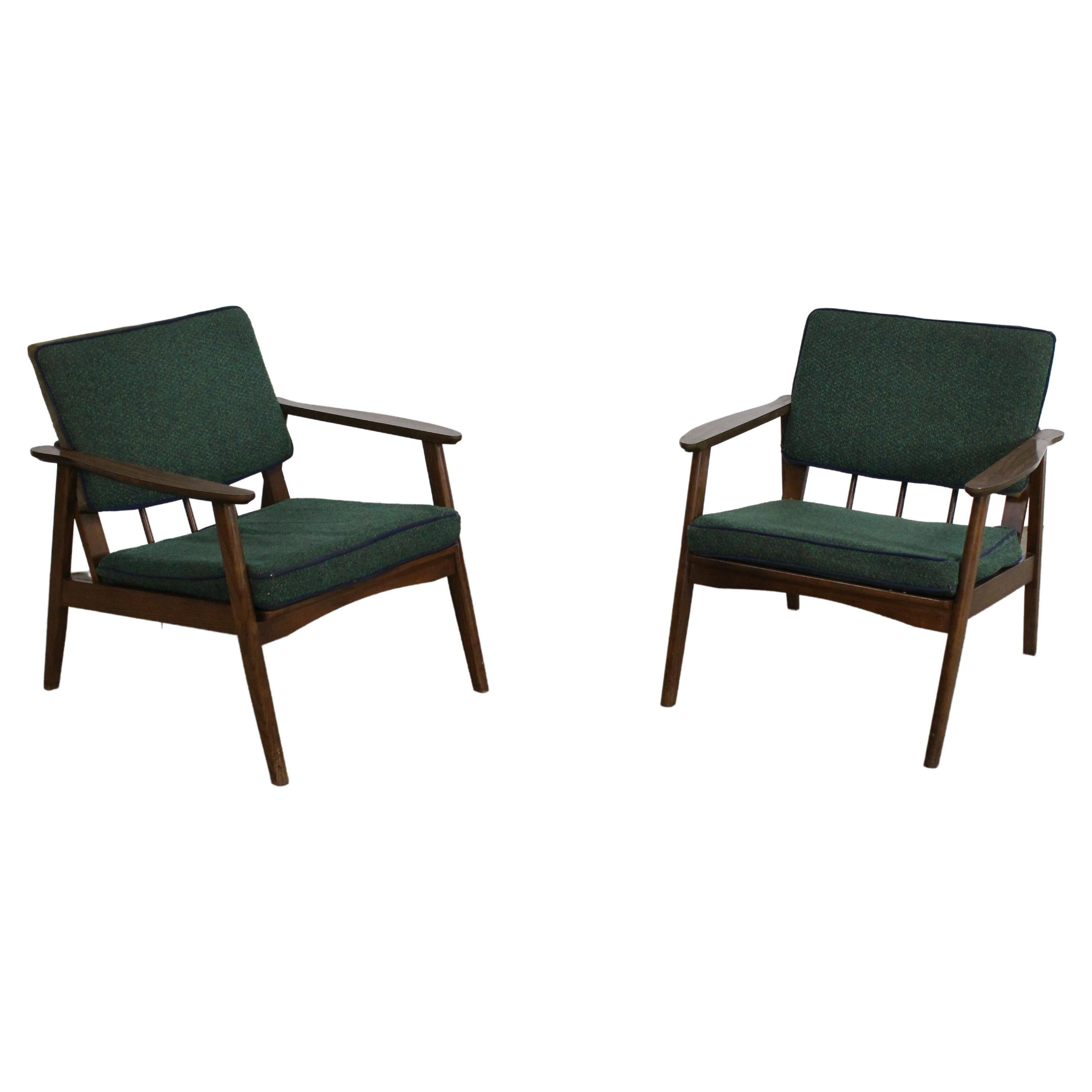 Pair of Mid-Century Lounge Chairs Walnut Open Arm Lounge Chairs