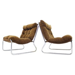 Pair of Midcentury Lounge Chrome Chairs, 1960s