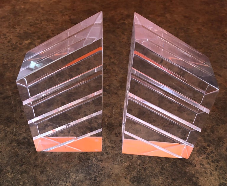 Mid-Century Modern Pair of Midcentury Lucite Bookends by Herb Ritts for Astrolite For Sale