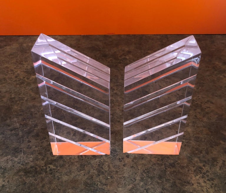 20th Century Pair of Midcentury Lucite Bookends by Herb Ritts for Astrolite For Sale