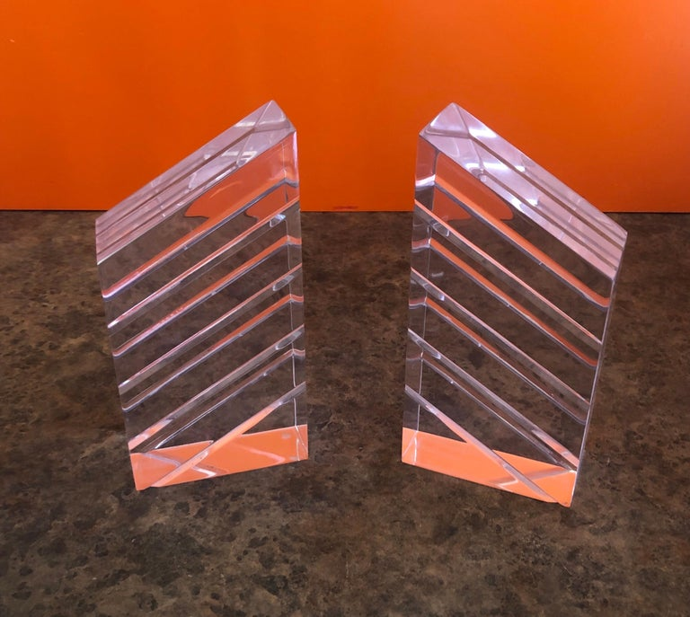 Pair of Midcentury Lucite Bookends by Herb Ritts for Astrolite For Sale 1