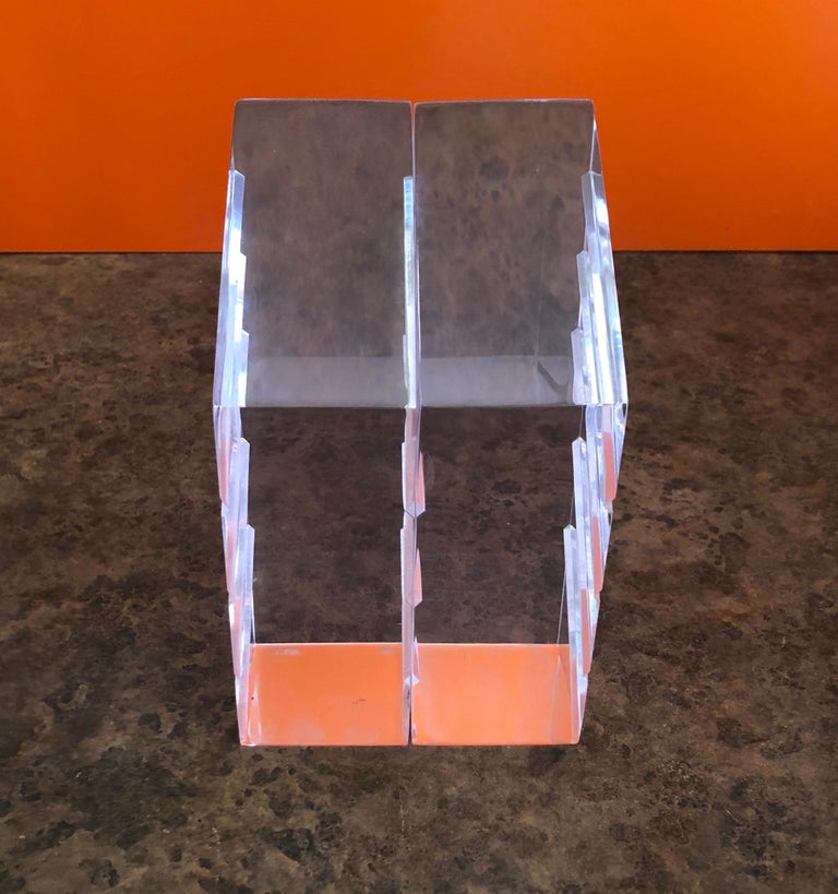 Pair of Midcentury Lucite Bookends by Herb Ritts for Astrolite For Sale 2