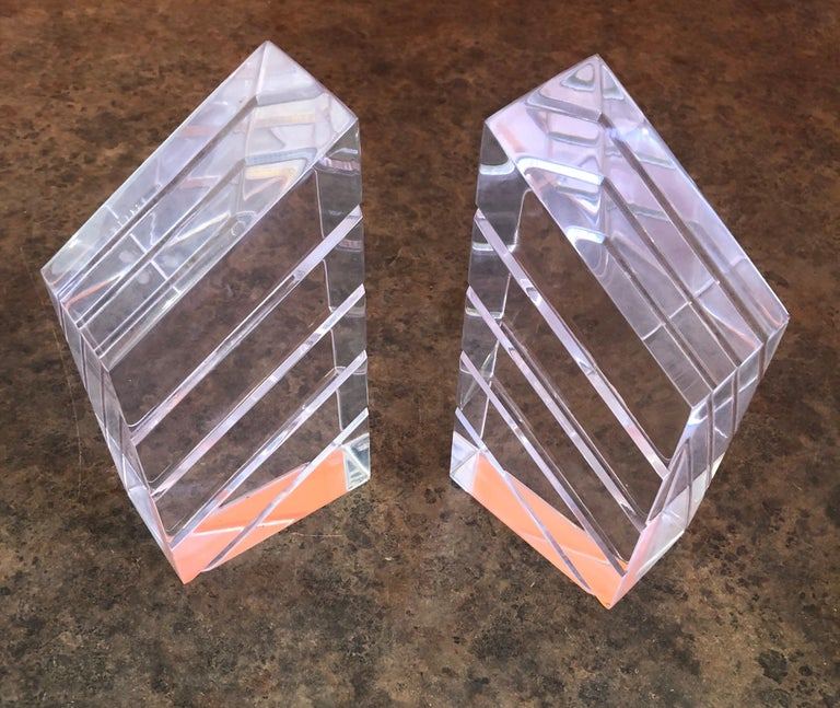 Pair of Midcentury Lucite Bookends by Herb Ritts for Astrolite For Sale 3