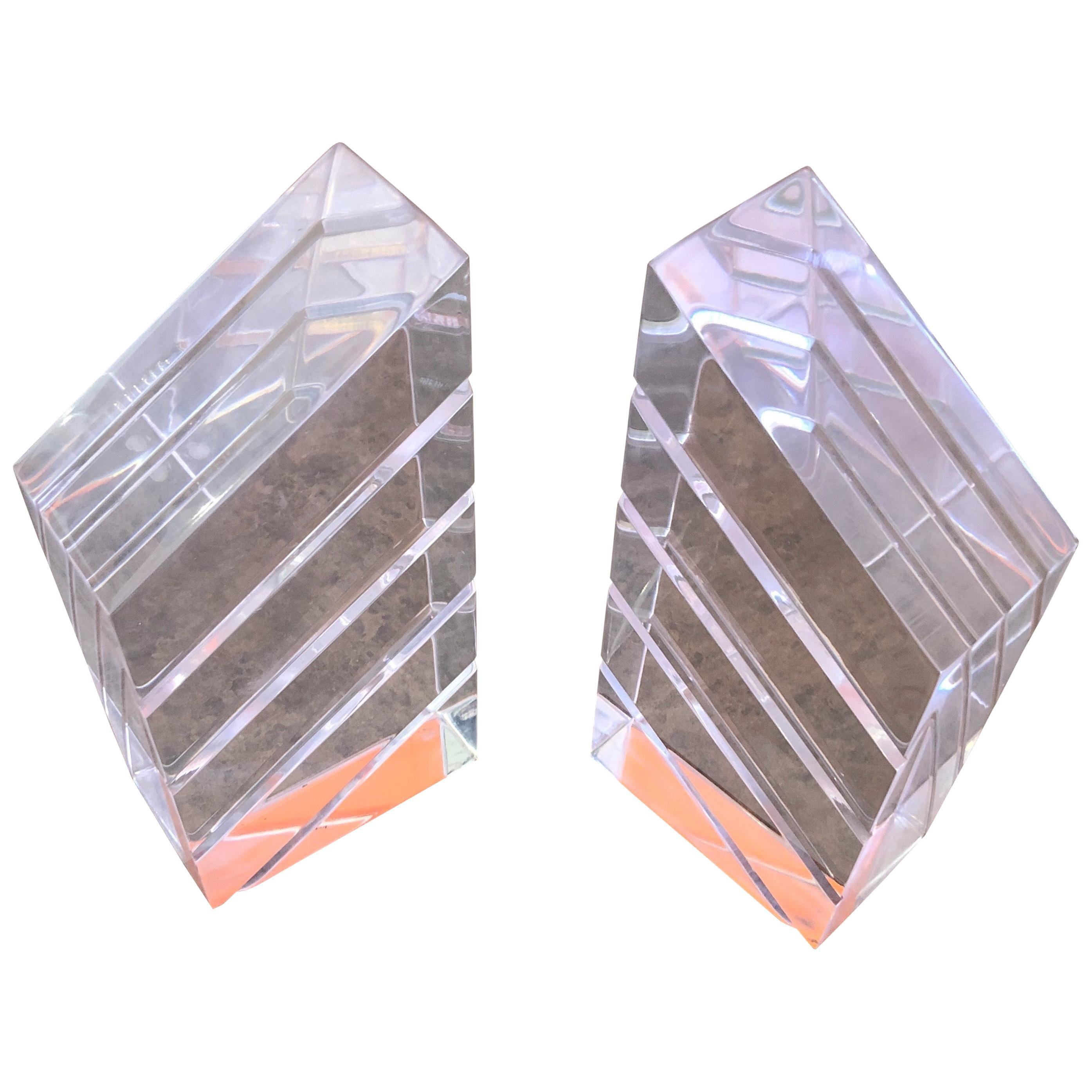Pair of Midcentury Lucite Bookends by Herb Ritts for Astrolite