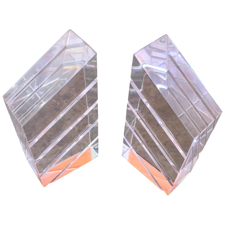 Pair of Midcentury Lucite Bookends by Herb Ritts for Astrolite For Sale