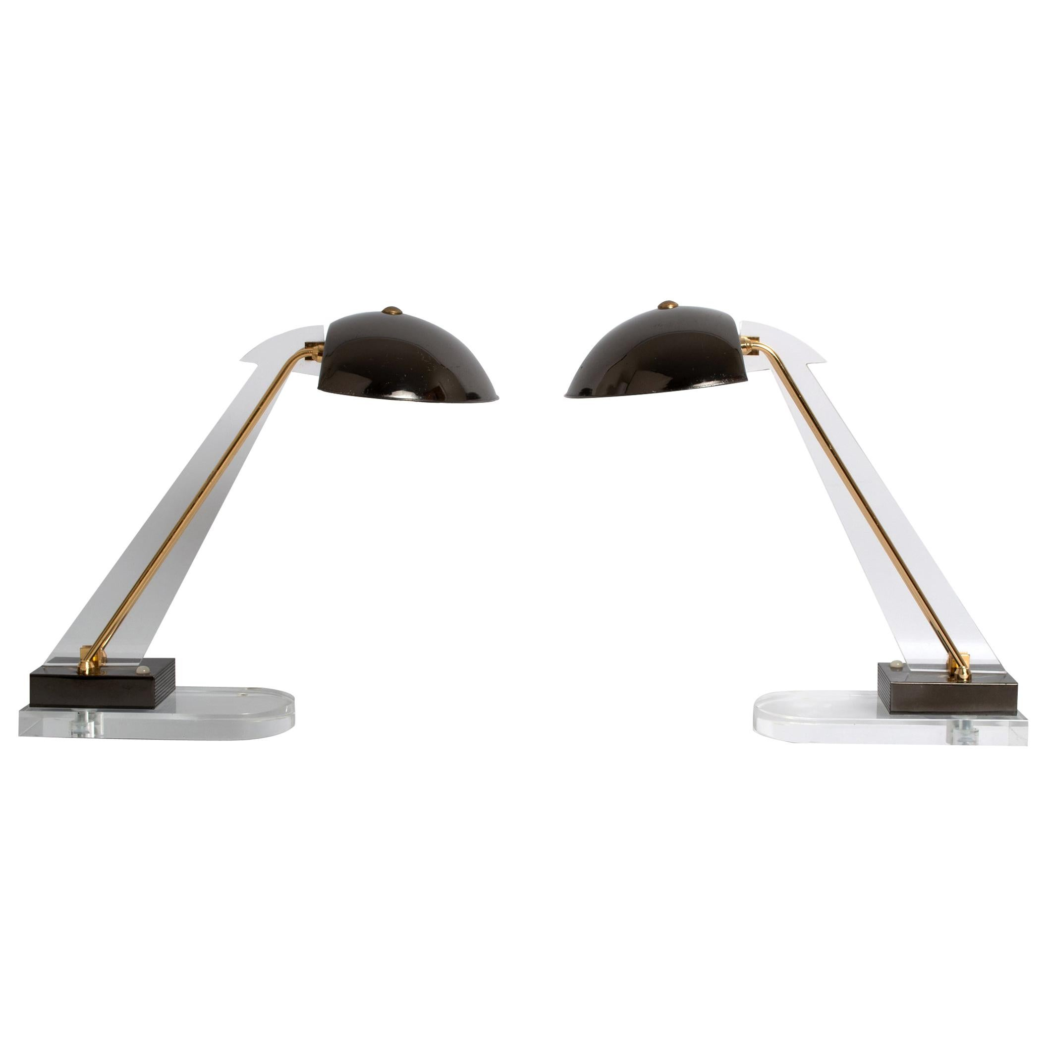 Pair of Midcentury Lucite Desk Lamps by Angelo Lelii for Arredoluce, Italy, 1950