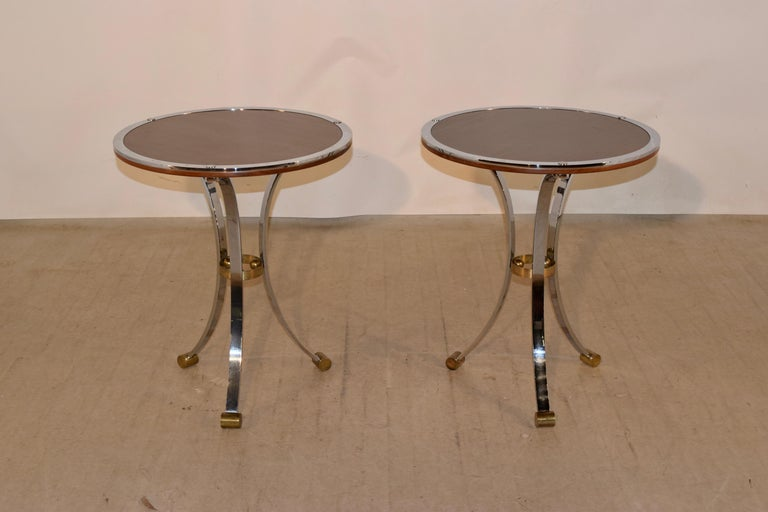 Mid-Century Modern Pair of Midcentury Mahogany and Chrome Side Tables For Sale