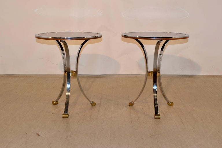 English Pair of Midcentury Mahogany and Chrome Side Tables For Sale