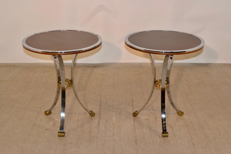 Pair of Midcentury Mahogany and Chrome Side Tables In Good Condition For Sale In High Point, NC