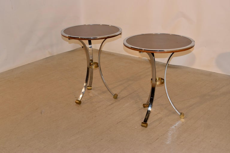 20th Century Pair of Midcentury Mahogany and Chrome Side Tables For Sale