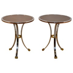 Pair of Midcentury Mahogany and Chrome Side Tables