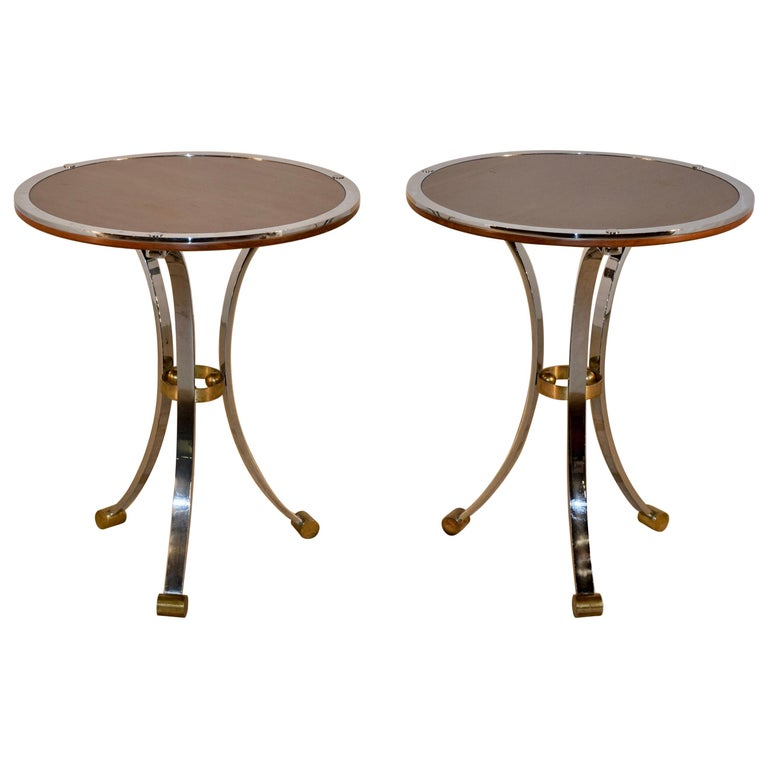 Pair of Midcentury Mahogany and Chrome Side Tables For Sale