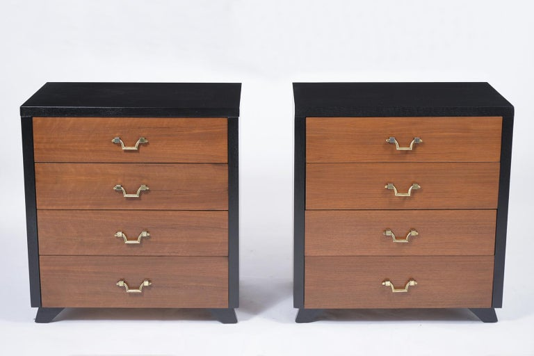 American Pair of Mid-Century Mahogany Chest of Drawers For Sale