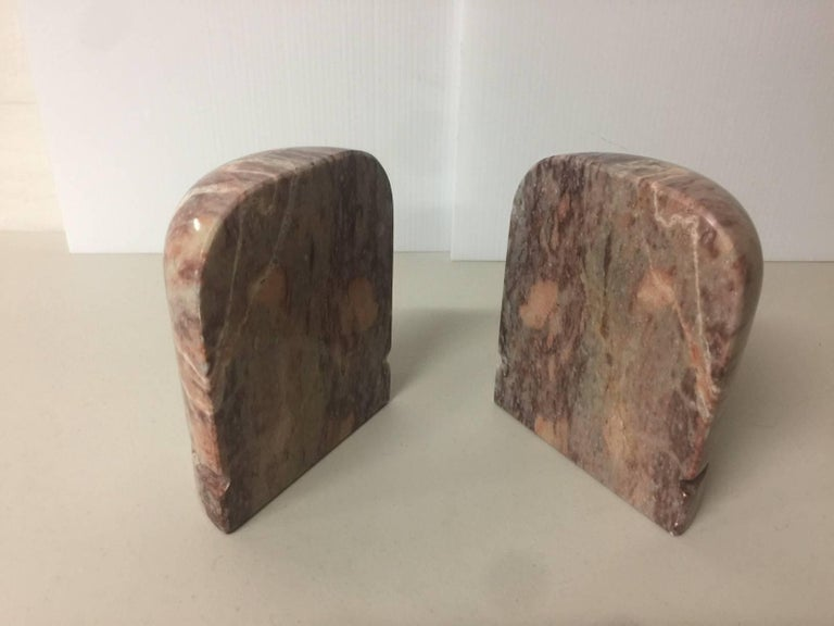 Polished Pair of Midcentury Marble Bookends For Sale