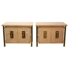 Pair of Mid Century Mastercraft Burled Wood and Brass Night Stands or Cabinets