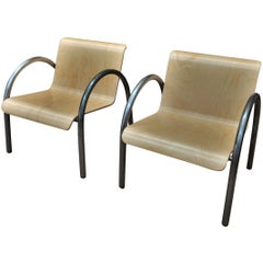 Pair of Mid-Century Metal and Wood Stack-Able Armchairs, 1950