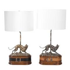 Pair of Midcentury Metal Dog Lamps, circa 1960
