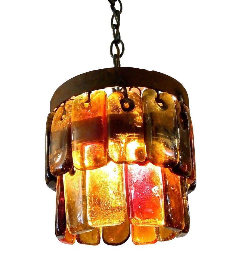 Mid-20th Century Pair of Mid Century Mexican Pendant Lights Iron and Blown Glass by Feders  For Sale