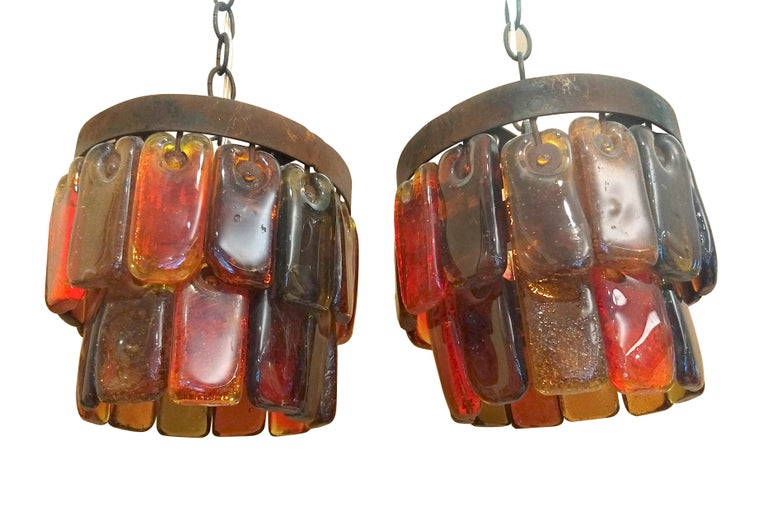 Pair of Mid Century Mexican Pendant Lights Iron and Blown Glass by Feders  For Sale 1