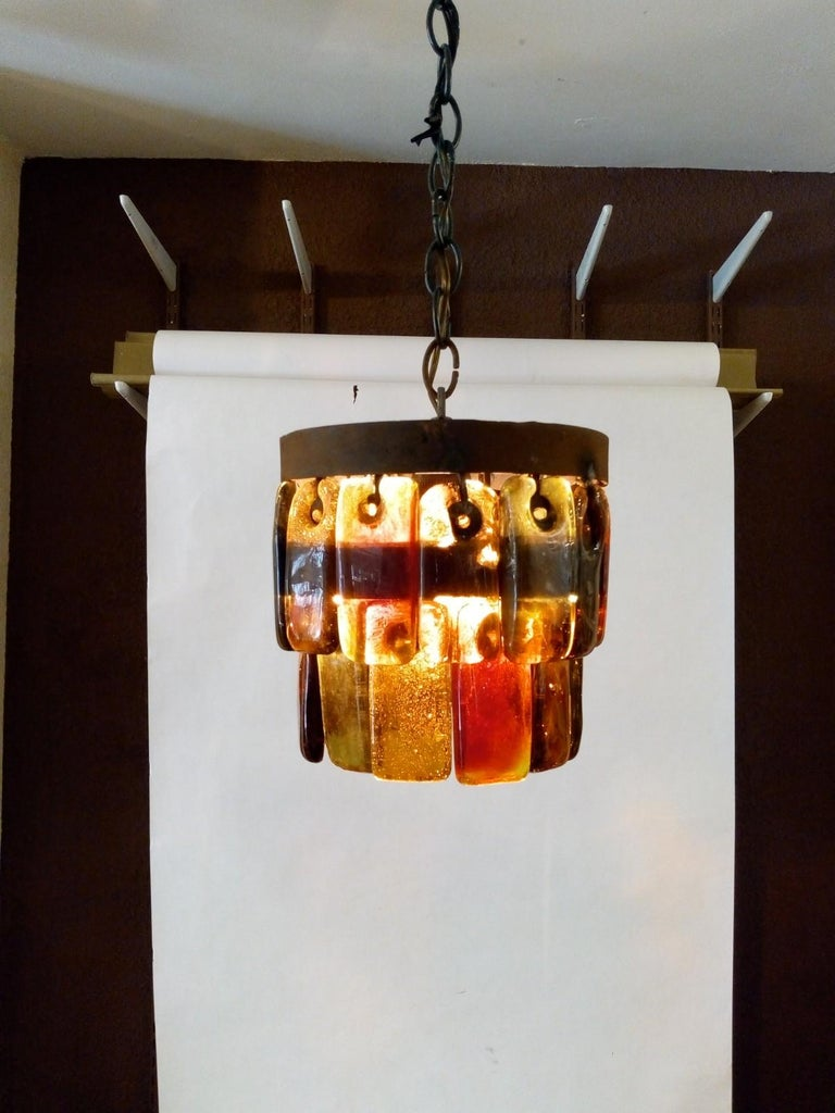 Pair of Mid Century Mexican Pendant Lights Iron and Blown Glass by Feders  For Sale 3