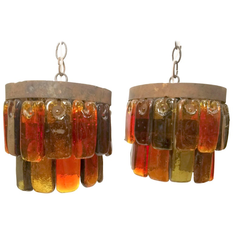 Pair of Mid Century Mexican Pendant Lights Iron and Blown Glass by Feders  For Sale