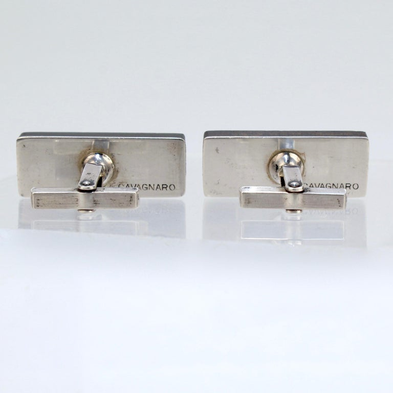 Pair of Midcentury Milton Caravagno Modernist Sterling and Wood Cufflinks For Sale 7