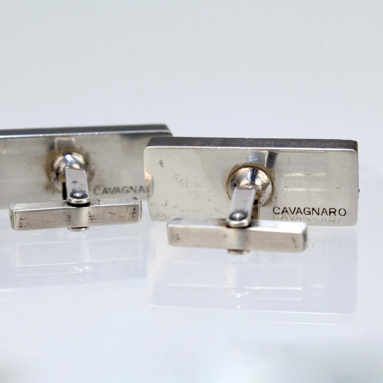 Pair of Midcentury Milton Caravagno Modernist Sterling and Wood Cufflinks For Sale 9
