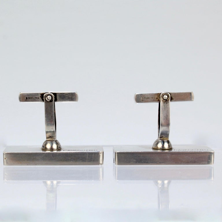 Pair of Midcentury Milton Caravagno Modernist Sterling and Wood Cufflinks For Sale 10