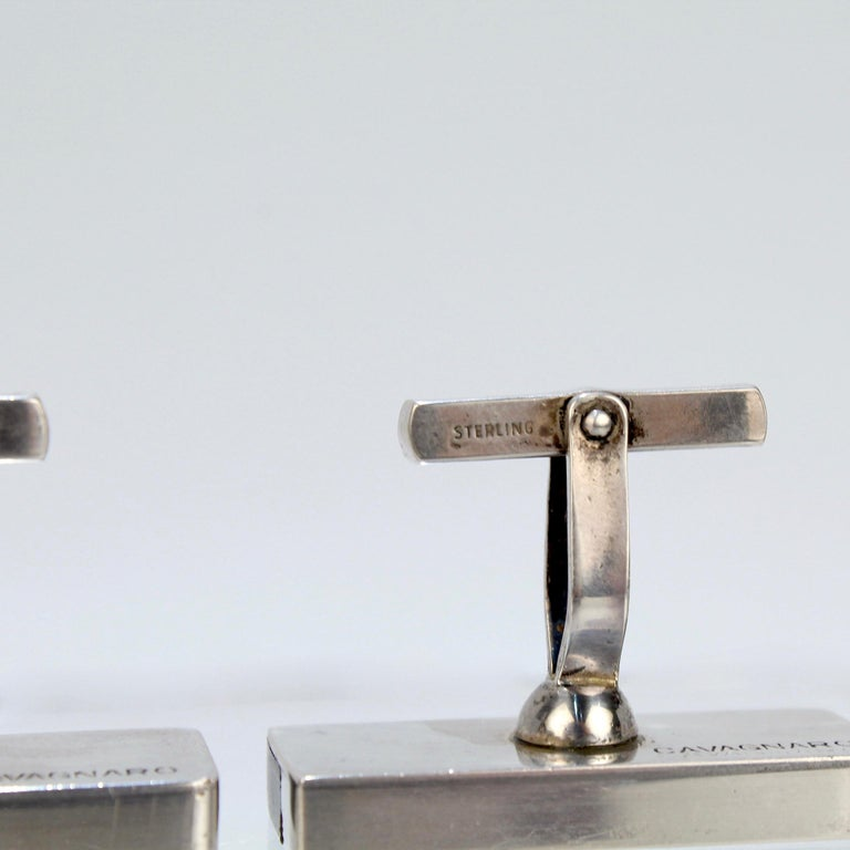 Pair of Midcentury Milton Caravagno Modernist Sterling and Wood Cufflinks For Sale 11