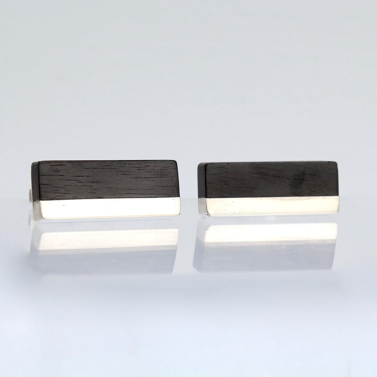 Pair of Midcentury Milton Caravagno Modernist Sterling and Wood Cufflinks For Sale 1