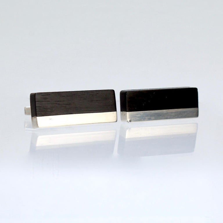 Pair of Midcentury Milton Caravagno Modernist Sterling and Wood Cufflinks For Sale 2