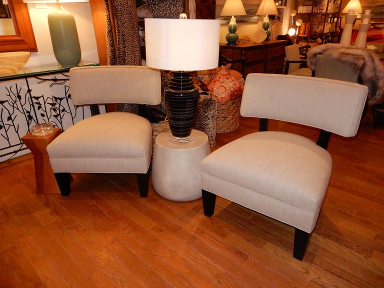 Ebonized Pair of Midcentury Mitchell Gold Side Chairs / Slipper Chairs