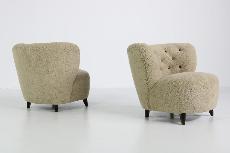 Pair Of Mid Century Modern 1950s Lounge Chairs Teddy Fur Leather Otto Schultz