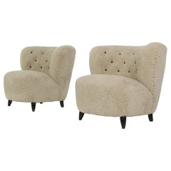 Pair of Mid-Century Modern 1950s Lounge Chairs Teddy Fur & Leather, Otto Schultz