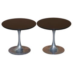 Pair of Mid-Century Modern 1960s Arkana Tulip Chrome Base Side End Lamp Tables