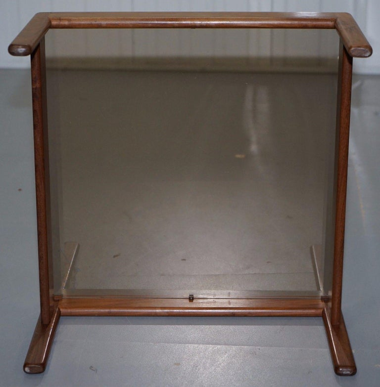 Pair of Mid-Century Modern 1960s Danish Teak Side Tables with Glass Tops Lovely For Sale 6