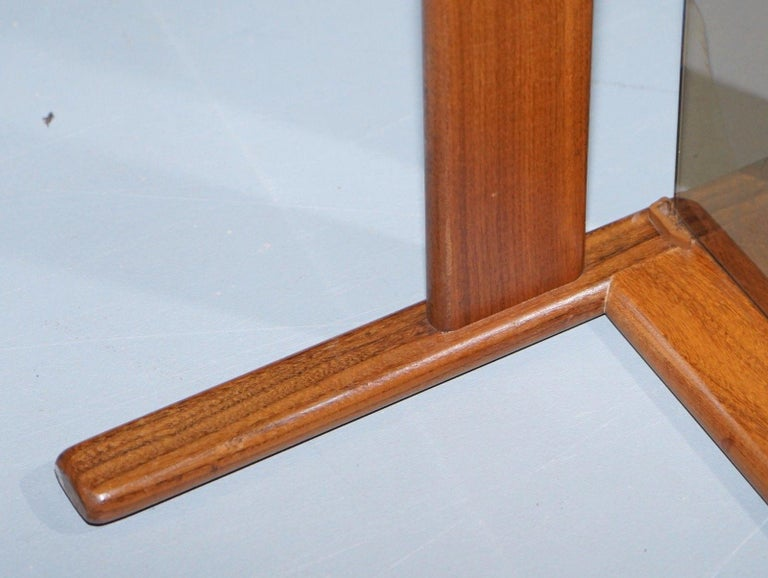 Pair of Mid-Century Modern 1960s Danish Teak Side Tables with Glass Tops Lovely For Sale 7
