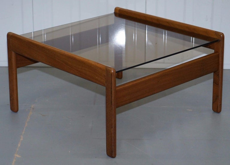 Hand-Crafted Pair of Mid-Century Modern 1960s Danish Teak Side Tables with Glass Tops Lovely For Sale