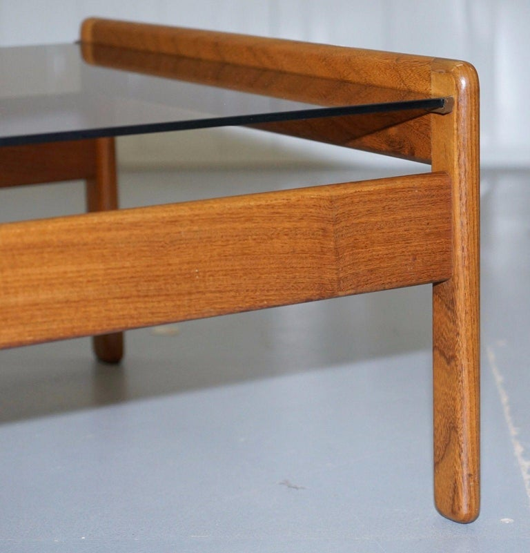 Pair of Mid-Century Modern 1960s Danish Teak Side Tables with Glass Tops Lovely For Sale 2
