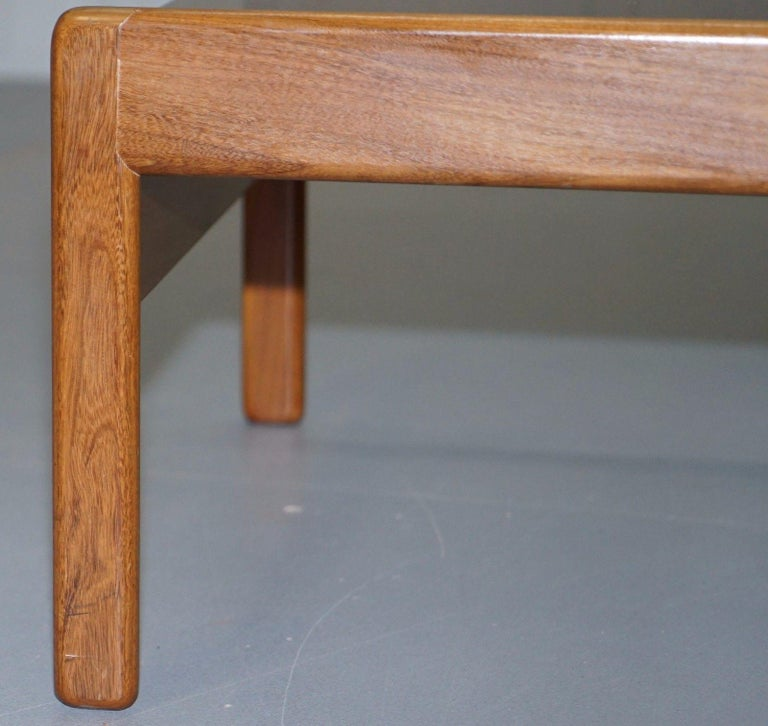 Pair of Mid-Century Modern 1960s Danish Teak Side Tables with Glass Tops Lovely For Sale 4