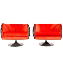 Pair of Mid-Century Modern 1960s Swivel Chairs By Pearsall In New Fabrics.