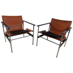 Pair of Mid-Century Modern 657 Lounge by Charles Pollock for Knoll