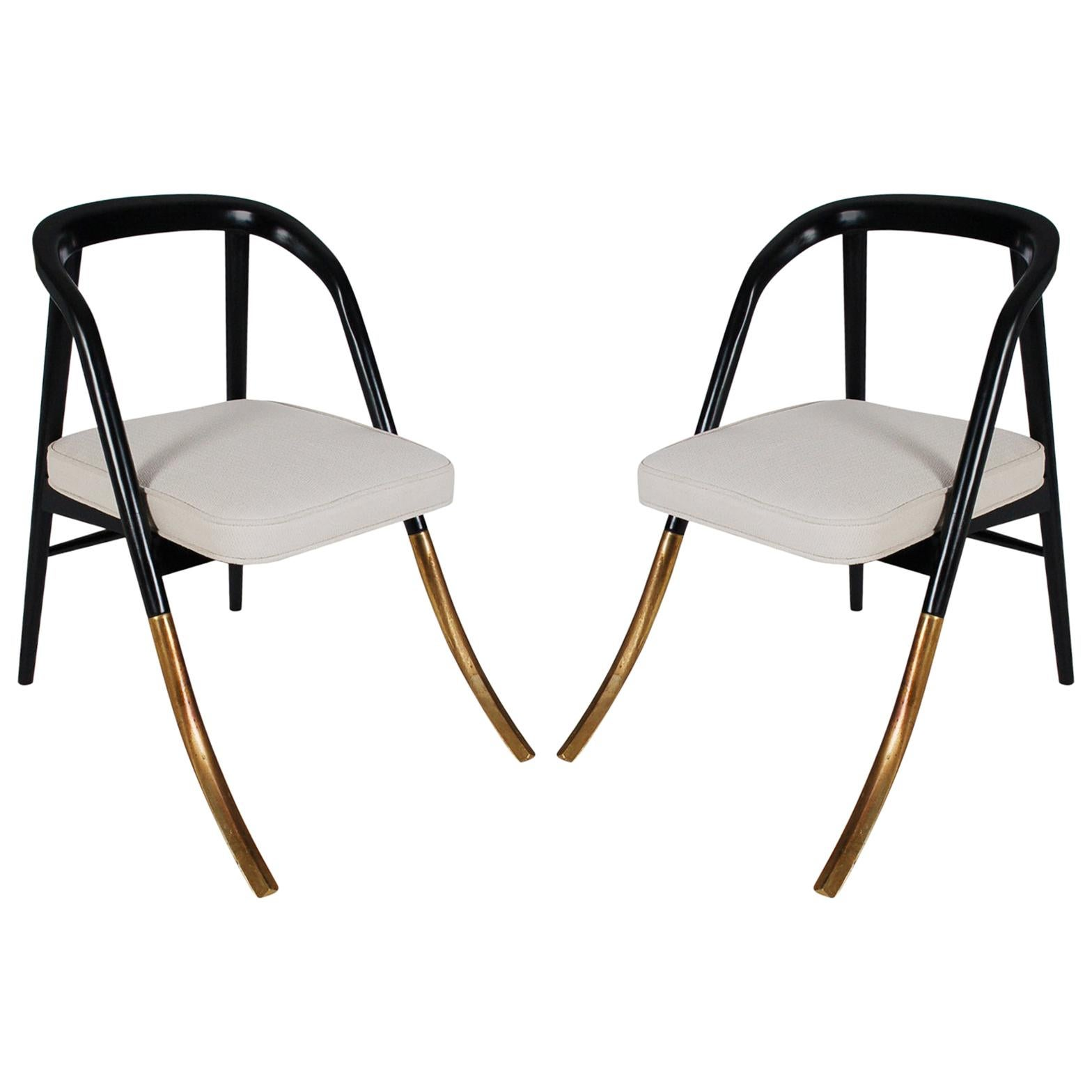 """Pair of Mid-Century Modern """"A"""" Chairs Attributed to Edward Wormley for Dunbar"""
