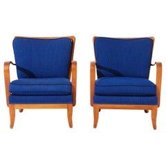 Pair of Mid Century Modern Accent Lounge Chairs with Blue Upholstery