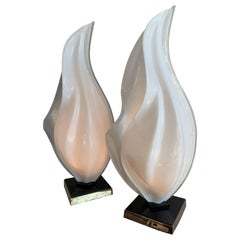 Pair of Mid-Century Modern Acrylic Tear Drop Table Lamps, by Rougier