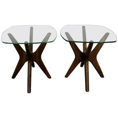 Pair of Mid-Century Modern Adrian Pearsall 'Jacks' Glass Top End Tables