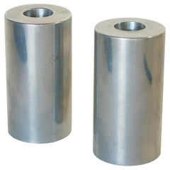 Pair of Mid-Century Modern Aluminum Circular Candle Column Holders