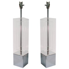Pair Of Mid-Century Modern Dimensional Architectural Lucite Table Lamps